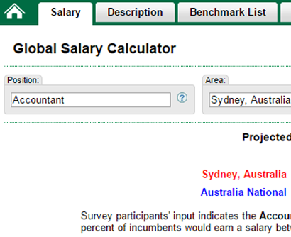 View salary estimates based on position and location